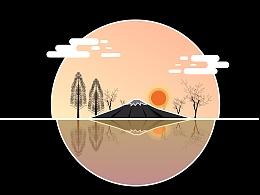 扁平插画风景--和风