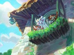 为动画剧集《猫村狂想曲》做的一部分图