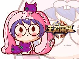 王者荣耀法师——安琪拉卡通形象吉祥物表情包设计