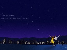 《爱乐之城》电影插画