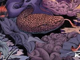 荷花系列原创插画2-螣蛇乘雾