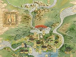 水彩 叠画 地图
