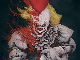 《小丑回魂2017》电影插画海报设计