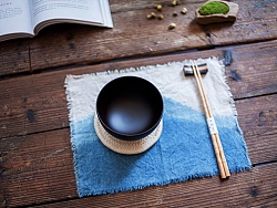 纯手工靛蓝染棉麻及制作   包包 / 餐垫 / 杯垫 / 发带
