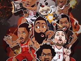 NBA火箭球星插画集,哈登,戈登,卡佩拉,Q版卡通