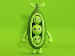 C4D-可爱小豌豆卡通造型