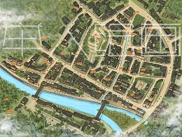 手绘灌县古城地图
