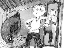 童书插图-星星落在麦垛上