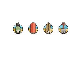 夏日海滩图标