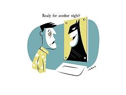AI矢量卡通插画 蝙蝠侠的日常