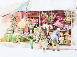 花店 + 水彩画过程详解