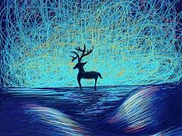 线圈画海洋极光插画