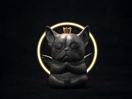 候鸟陶作品-误当天神的L汪-陶瓷黑泥小雕塑