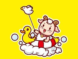 """""""小羊快跑""""卡通形象LOGO设计"""