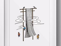 农产品系列包装插画——张枫桥