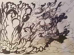 海贼王——哥尔.D.艾斯(马克笔和针管笔)