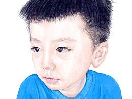 一组儿童肖像彩铅画