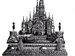 迪士尼乐园钢笔画