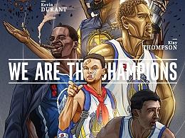 我们是冠军!nba勇士队插画海报