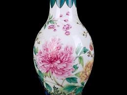 仿康熙铜胎画珐琅玉堂富贵瓶
