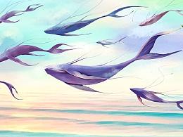 飞翔的鲸鱼,站酷AJ酱小饼场景画,插画CG漫画手绘设计