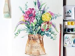 北欧尤加利 纸袋里的水彩花束