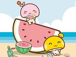 蘑菇点点清凉夏日系列壁纸
