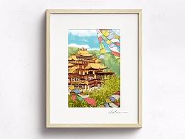 香格里拉-松赞林寺的彩旗