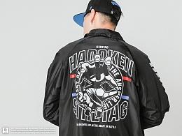 STRETAG教练夹克街霸HADOKEN秋季美式黑色翻领工装外套