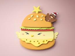 C4D 积木圣诞小鸡练习