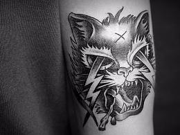 闪电猫纹身创作过程