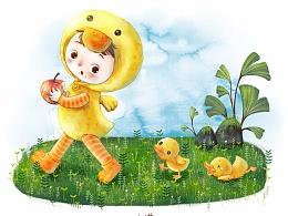 小孩和小鸭子