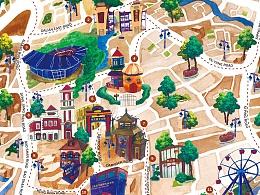 上海虹口地区自行车路线地图-水粉插画