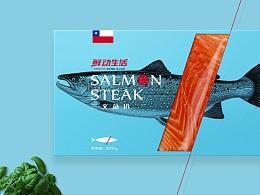 四种风格的海鲜产品包装设计
