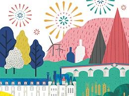 法国交换项目-法国中央大区新年贺卡设计