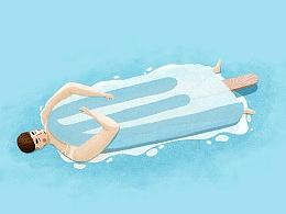 热死了,拿根冰棍当被子,哈哈