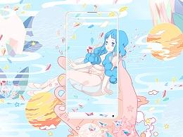 预见梦想 | 小米MIX2插画海报