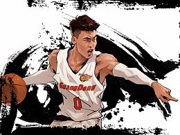 给国内CBA球星绘制的一些作品,赵睿,继伟,中国篮球