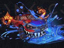 爆裂火花-领克02车机壁纸设计