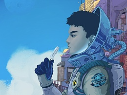 屋顶上的四星宇航员