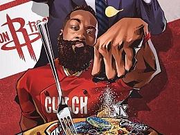 NBA火箭球星哈登创意篮球插画,美漫卡通