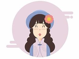扁平化插画练习,旗袍女孩