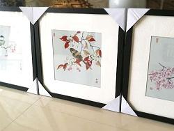 《鸟语花香》瓷板三联画