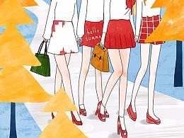 女生系列插画