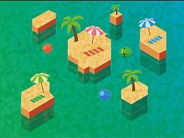 纪念碑谷风格的岛屿插画