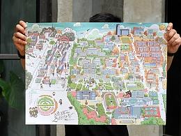 大连理工大学校园手绘地图 校园纪念品