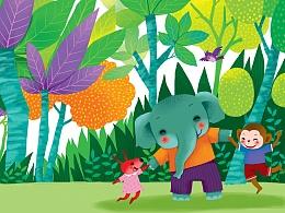 画儿晴天 儿童插画《小象找妈妈 》