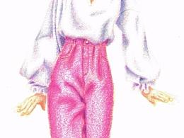 服裝系列插畫練習 - 粉紅色的丹寧