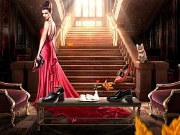 电商女鞋合成海报