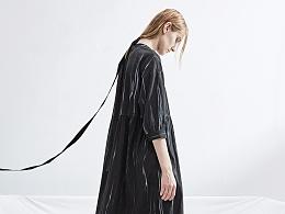 【花树果原创设计女装】2017早秋新款撞色七分袖连衣裙